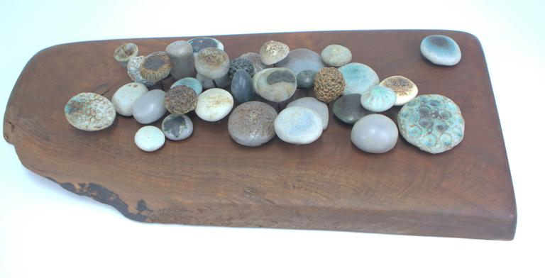 Fantastic Winni Brueggemann sculpture of stoneware mushroom like forms mounted with brass rods emanating from a solid live edge walnut slab. Stoneware forms are varied in size, texture, height and color with landscape like composition. Has a notch