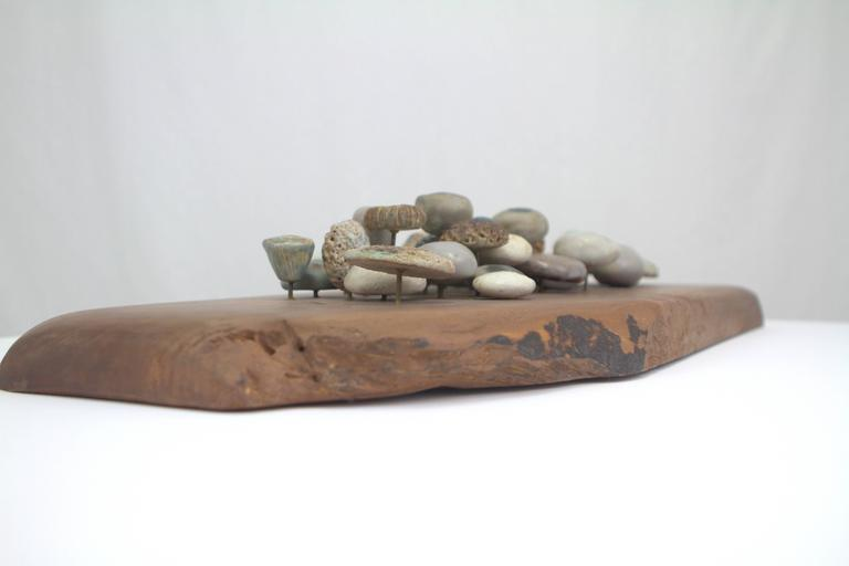 American Winni Brueggemann Stoneware Sculpture on Solid Walnut Slab For Sale