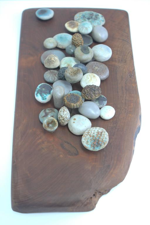 Winni Brueggemann Stoneware Sculpture on Solid Walnut Slab For Sale 2