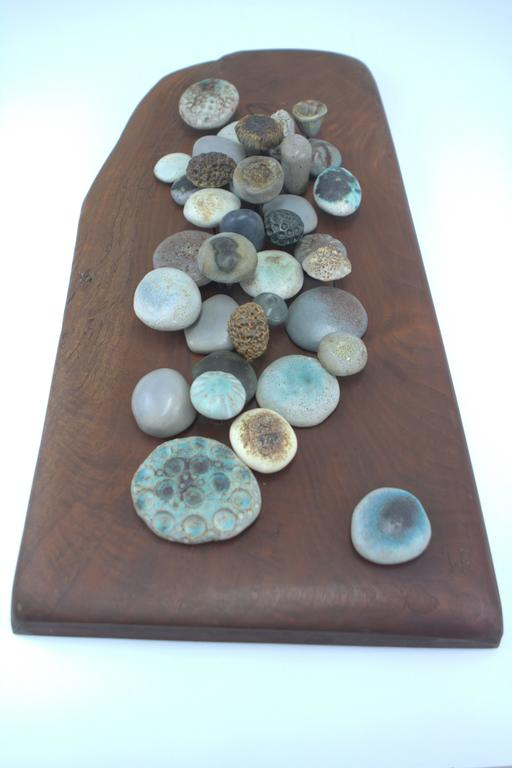 Organic Modern Winni Brueggemann Stoneware Sculpture on Solid Walnut Slab For Sale