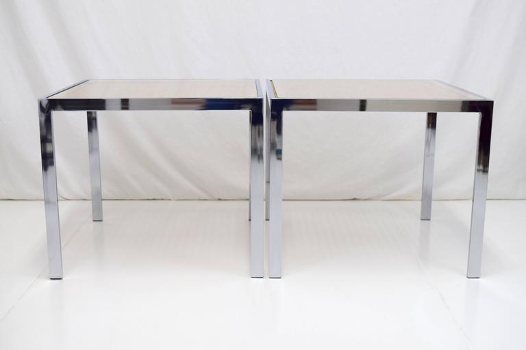Superbe Milo Baughman Cane And Chrome End Tables, Pair. Glass Over Woven Cane And  Wood