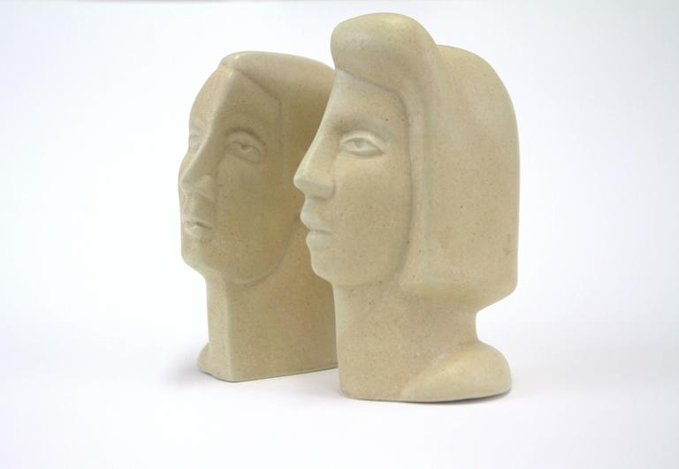 Modern Peter Wright Interlocking Male, Female Busts Sculpture For Sale