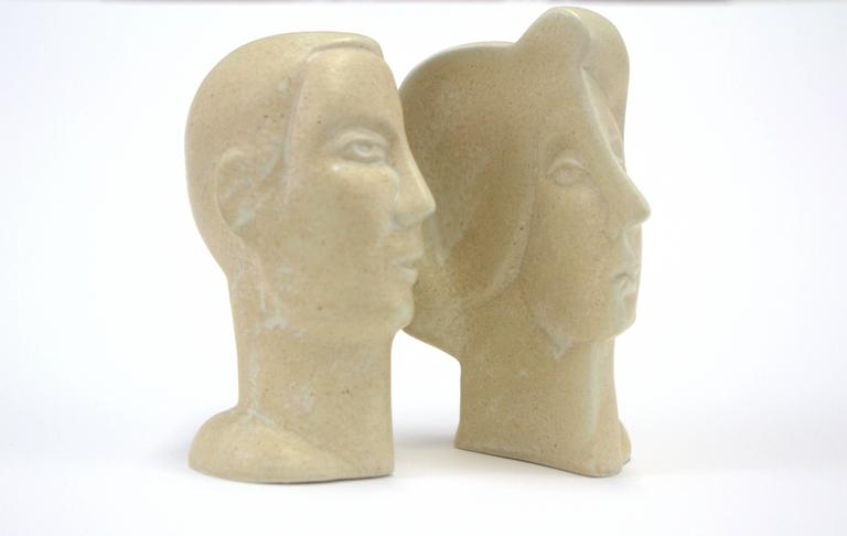 English Peter Wright Interlocking Male, Female Busts Sculpture For Sale