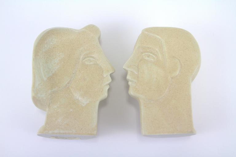 Porcelain Peter Wright Interlocking Male, Female Busts Sculpture For Sale