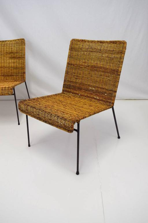 Mid-Century Modern Van Keppel-Green Three-Piece Modular Iron and Wicker Set For Sale