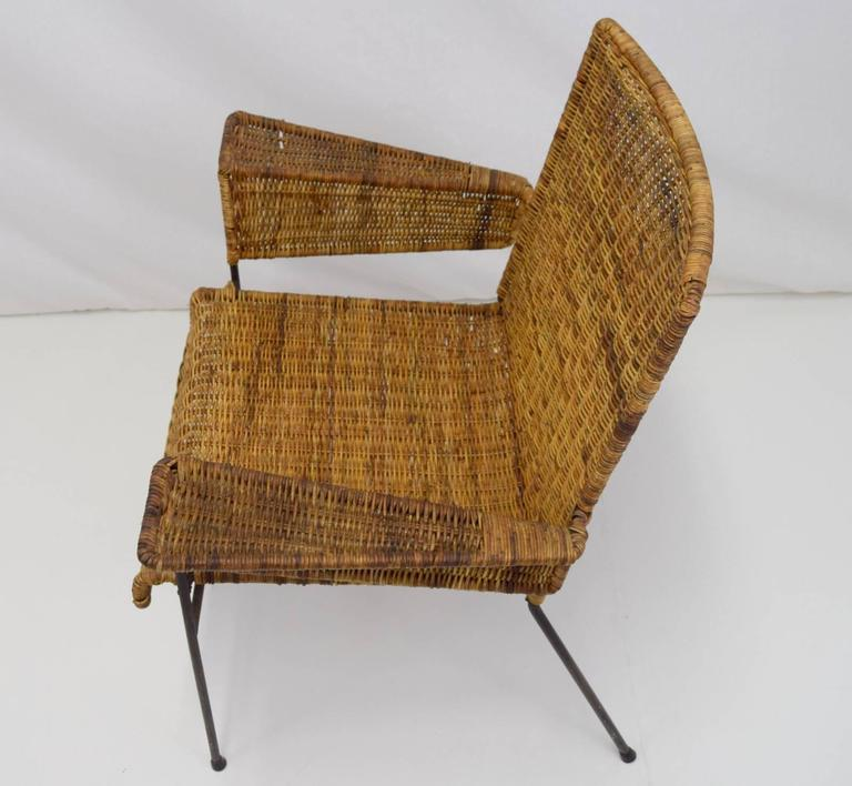 American Van Keppel-Green Iron and Wicker Lounge Chair For Sale