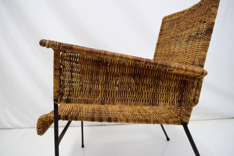 Van Keppel-Green Iron and Wicker Lounge Chair In Good Condition For Sale In Chicago, IL