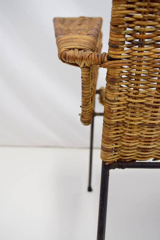 Mid-20th Century Van Keppel-Green Iron and Wicker Lounge Chair For Sale