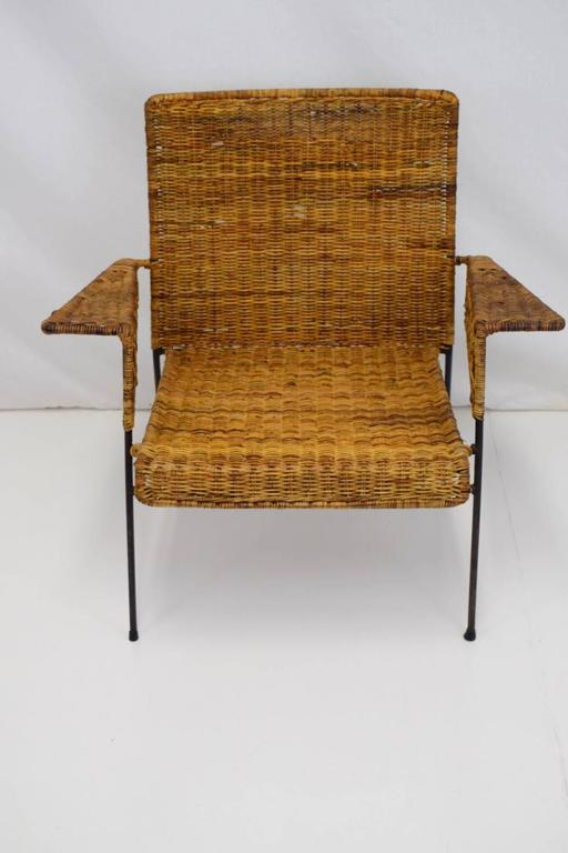 Van Keppel-Green Iron and Wicker Lounge Chair For Sale 4