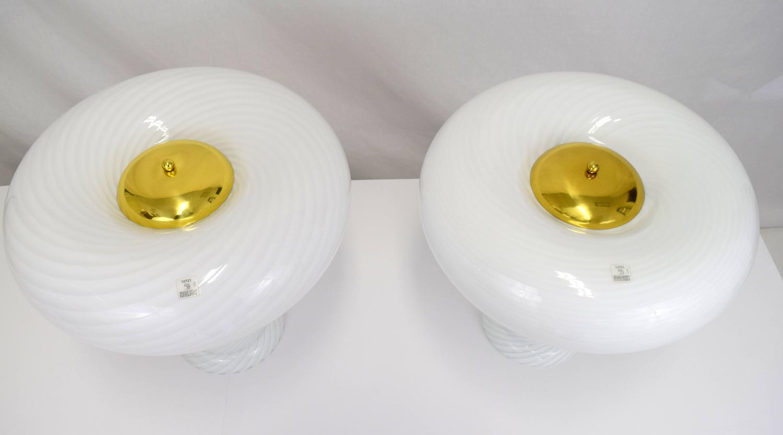 Vetri Murano Swirl Glass Mushroom Lamps Pair For Sale At