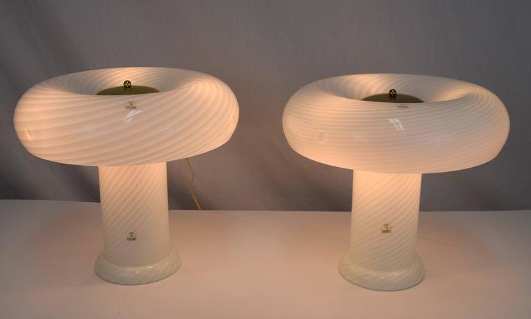 Vetri Murano Swirl Glass Mushroom Lamps, Pair 4