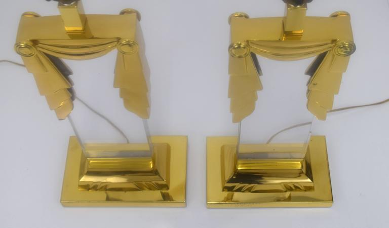 Late 20th Century Karl Springer Style Hollywood Regency Lucite and Brass Lamps, Pair  For Sale