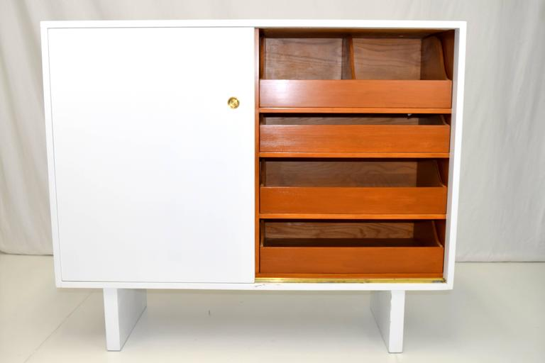 Mid-Century Modern White Lacquered Wardrobe Cabinet by James Wylie for Widdicomb   For Sale