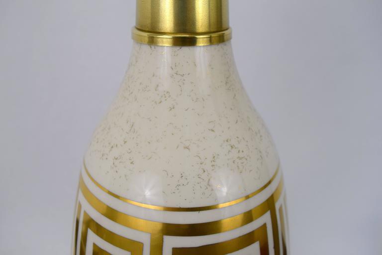 Pair of Hollywood Regency Greek Key Motif Ceramic Table Lamps For Sale 2