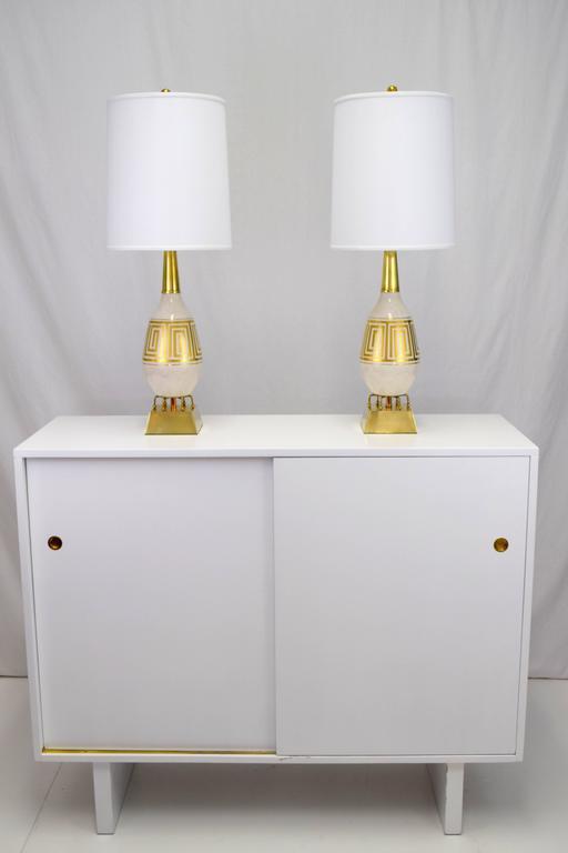 Pair of Hollywood Regency Greek Key Motif Ceramic Table Lamps For Sale 4