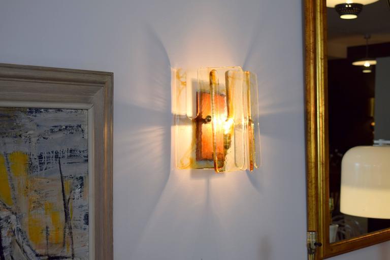 Murano Interlocking Glass Sconces by Mazzega For Sale 1
