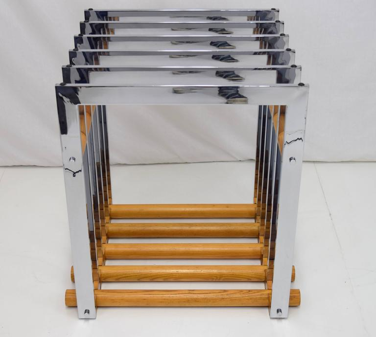 1970s Italian Chrome and Oak Table Base in Willy Rizzo Style 4
