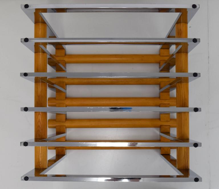 1970s Italian Chrome and Oak Table Base in Willy Rizzo Style 5