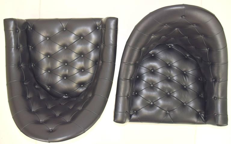 Sexy Pair of Black Leather Tufted Chairs by Milo Baughman For Sale 3