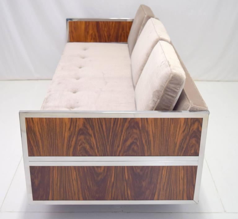 Mid-Century Modern Rosewood and Chrome Case Sofa with Oval Base Attributed to Milo Baughman For Sale
