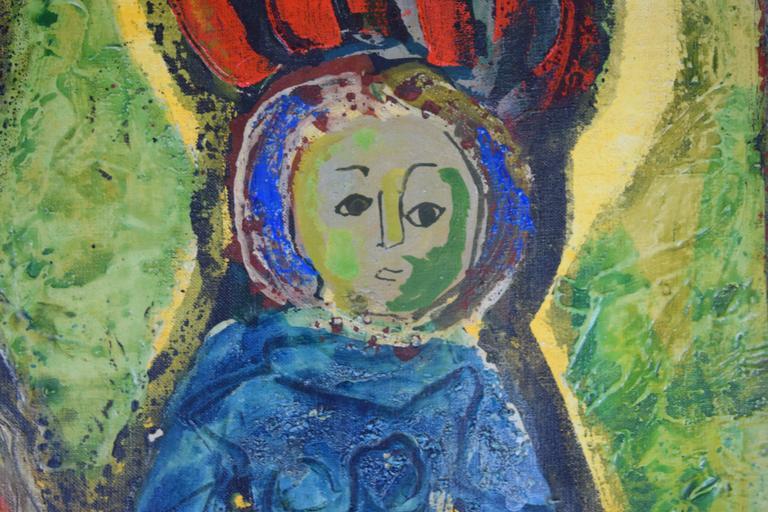 Mid-Century Modern Aleksander Bozickovic, BOZ Abstract Figurative Oil Composition For Sale