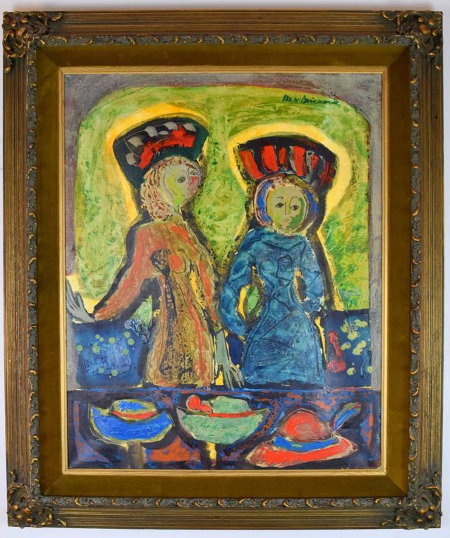 Gesso Aleksander Bozickovic, BOZ Abstract Figurative Oil Composition For Sale