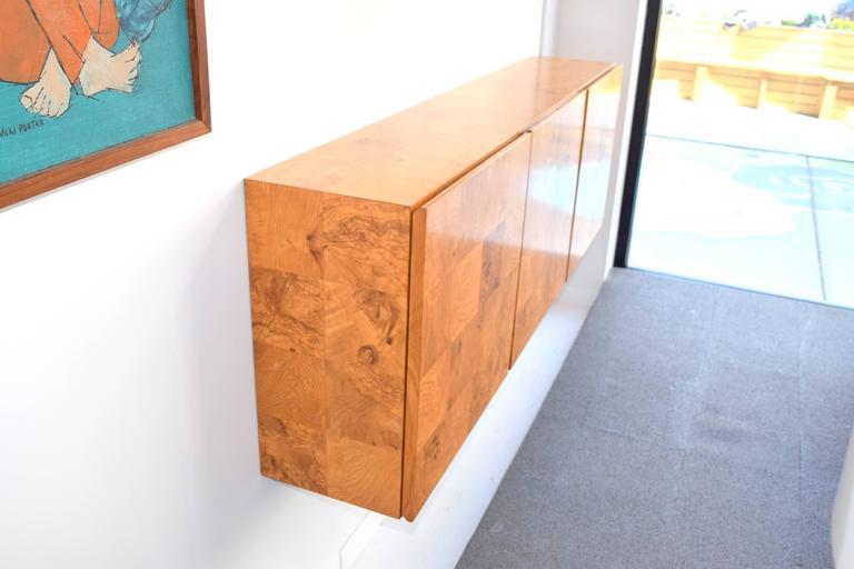 Mid-Century Modern Milo Baughman Wall-Mounted Burl Wood Cabinet For Sale