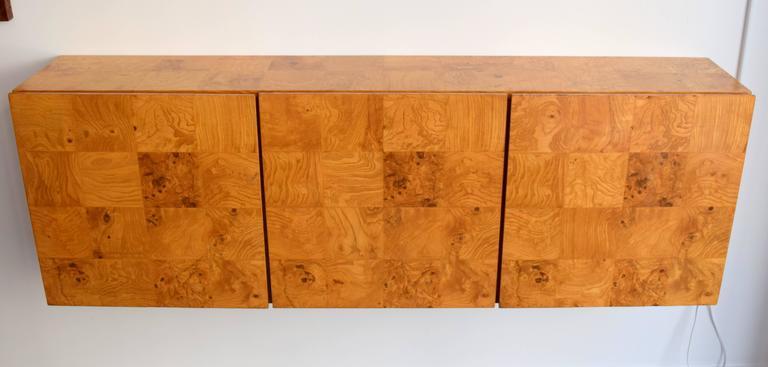 American Milo Baughman Wall-Mounted Burl Wood Cabinet For Sale