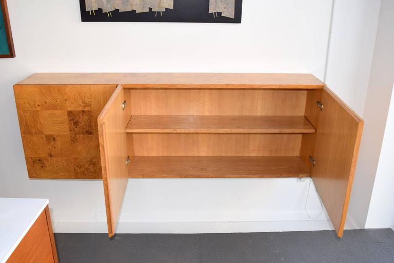 Milo Baughman Wall-Mounted Burl Wood Cabinet In Good Condition For Sale In Chicago, IL