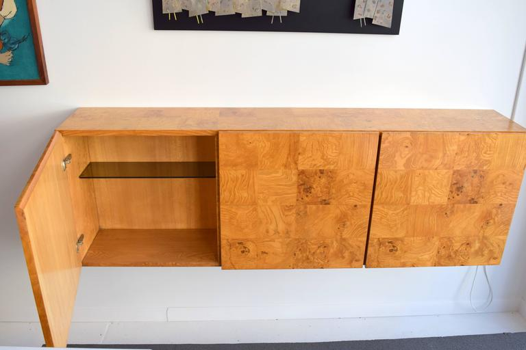 Late 20th Century Milo Baughman Wall-Mounted Burl Wood Cabinet For Sale