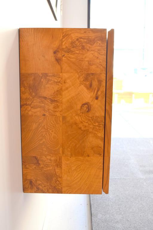 Milo Baughman Wall-Mounted Burl Wood Cabinet For Sale 1