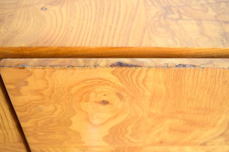 Milo Baughman Wall-Mounted Burl Wood Cabinet For Sale 2