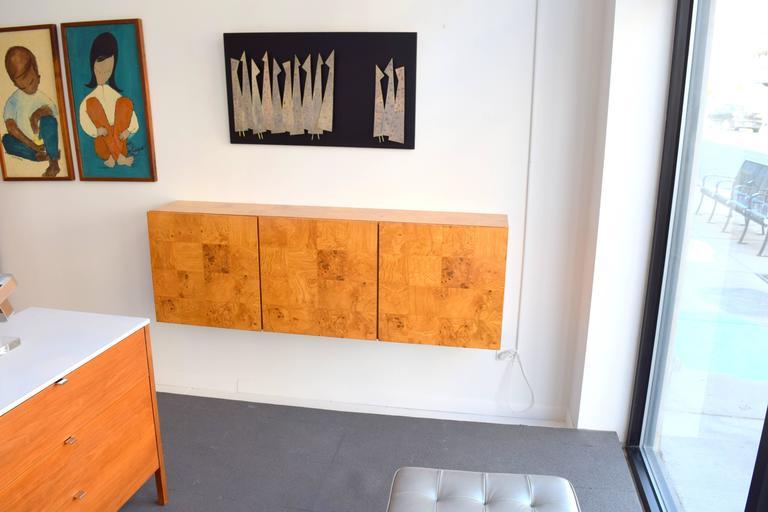 Milo Baughman Wall-Mounted Burl Wood Cabinet For Sale 4