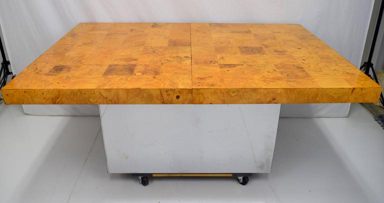Mid-Century Modern Milo Baughman Burl Wood and Stainless Expanding Dining Table For Sale