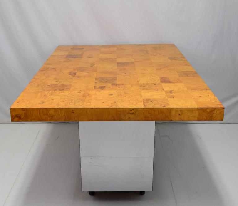 American Milo Baughman Burl Wood and Stainless Expanding Dining Table For Sale
