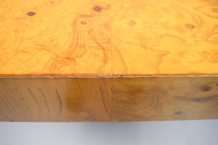 Stainless Steel Milo Baughman Burl Wood and Stainless Expanding Dining Table For Sale