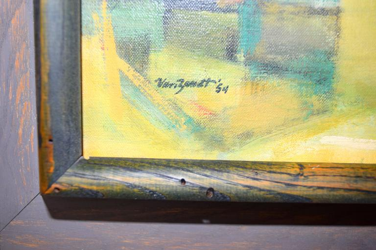 Expressionist Edward Van Zandt Beverly Abstract Oil in Original Cerused Wood Frame For Sale