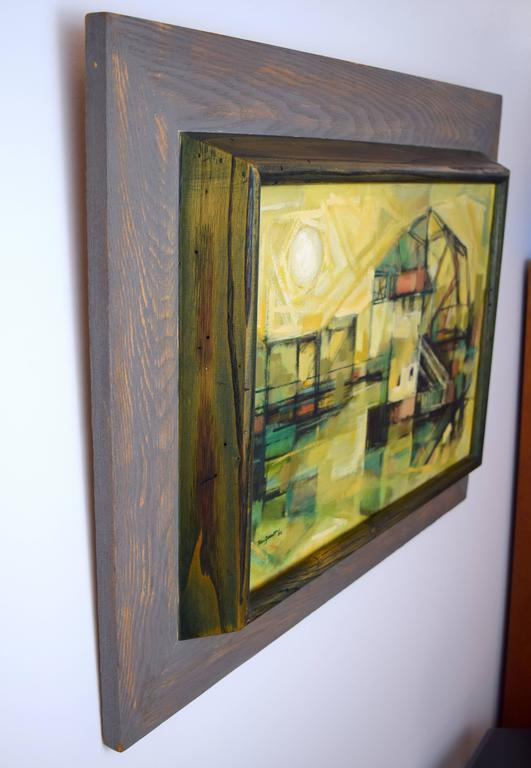 Edward Van Zandt Beverly Abstract Oil in Original Cerused Wood Frame For Sale 1
