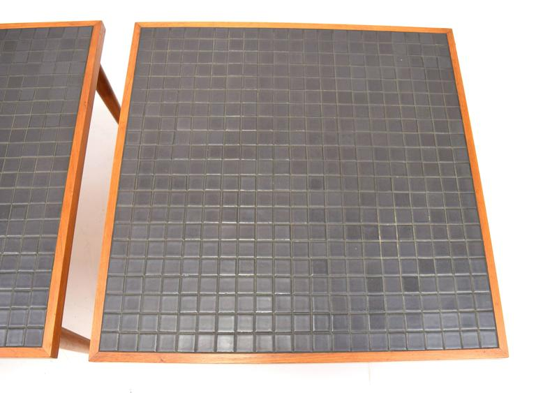Mid-Century Modern Pair of Martz Walnut and Tile End Tables for Marshall Studios For Sale