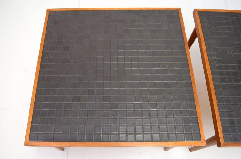 American Pair of Martz Walnut and Tile End Tables for Marshall Studios For Sale