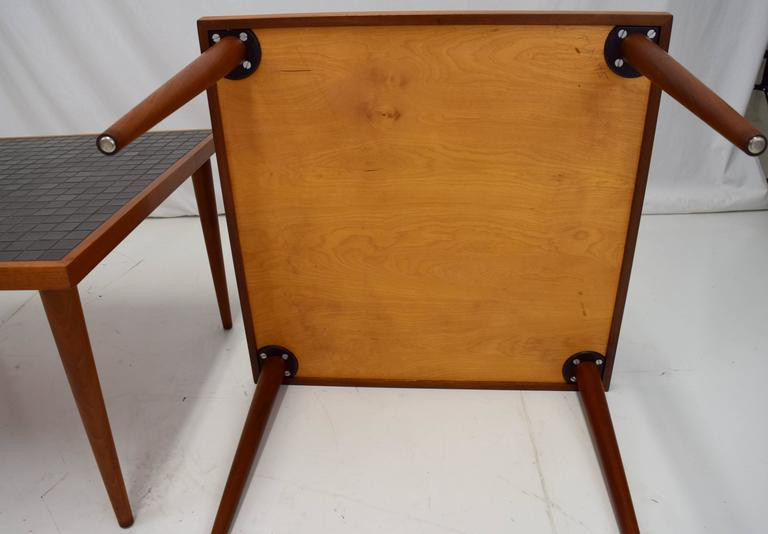 Pair of Martz Walnut and Tile End Tables for Marshall Studios For Sale 1