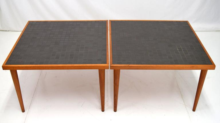 Pair of Martz Walnut and Tile End Tables for Marshall Studios For Sale 2
