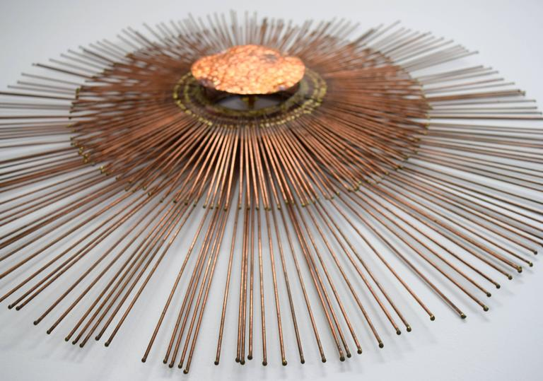 Mid-Century Modern Curtis Jere Copper Rod Sunburst Wall Sculpture For Sale
