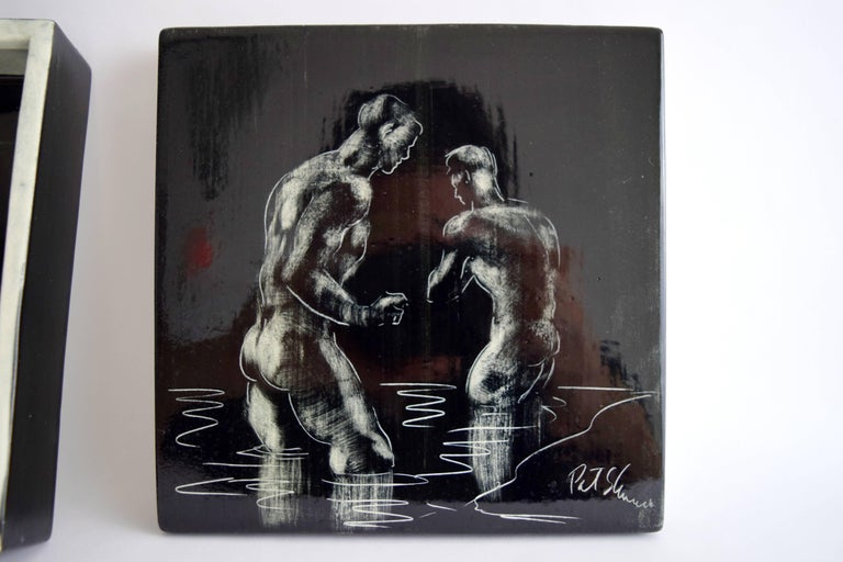 Pat and Covey Stewart Art Pottery Box Titled Bathers In Good Condition For Sale In Chicago, IL