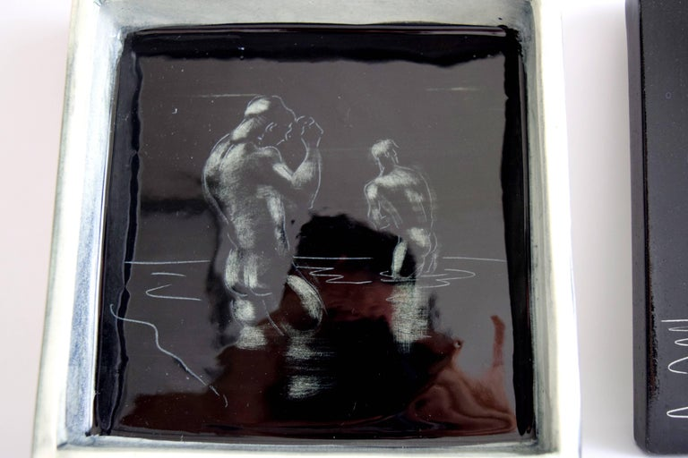 20th Century Pat and Covey Stewart Art Pottery Box Titled Bathers For Sale