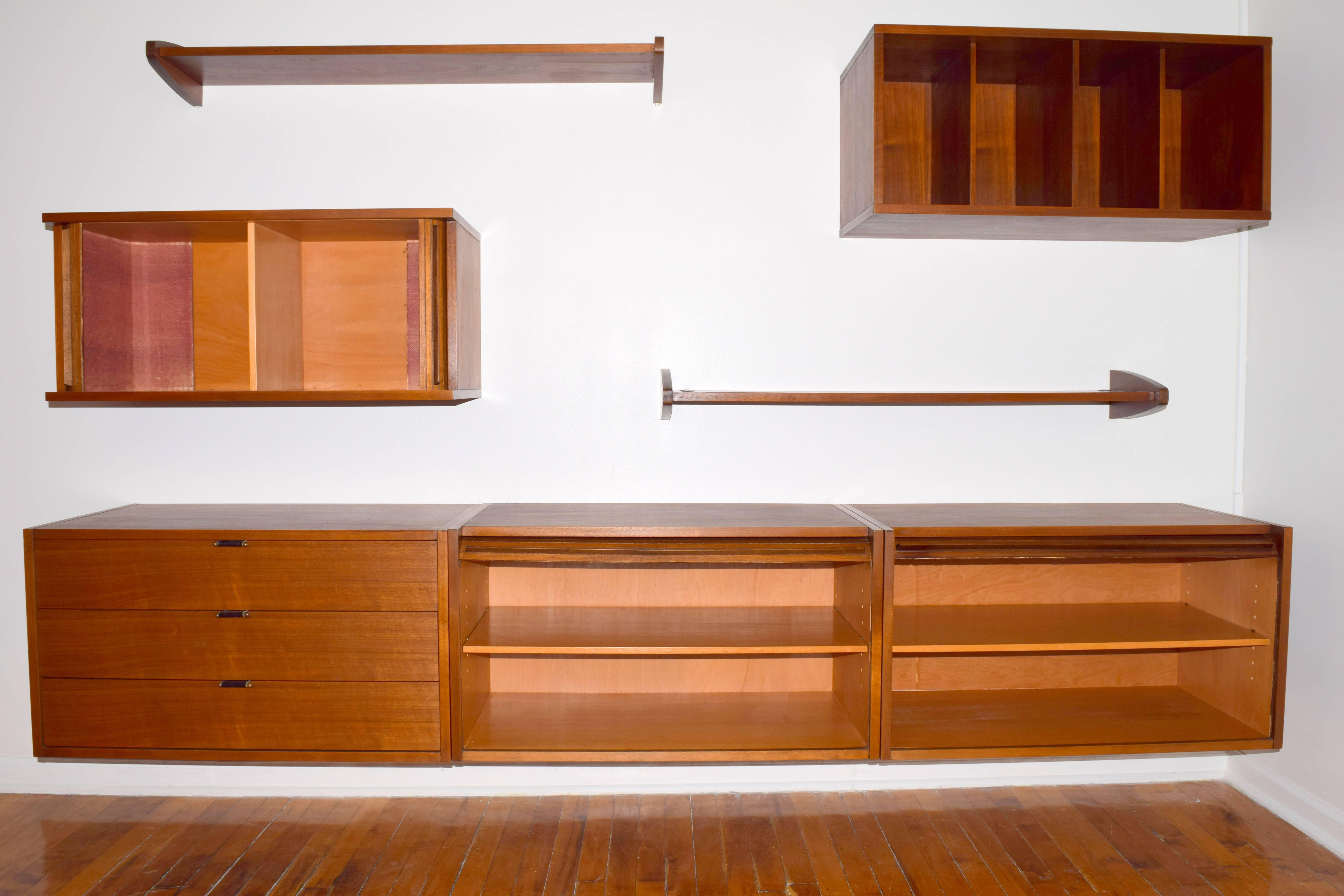 Fantastic Wall Mounted Floating Wall Unit In Walnut. Consisting Of Five  Cabinets Mounted Via
