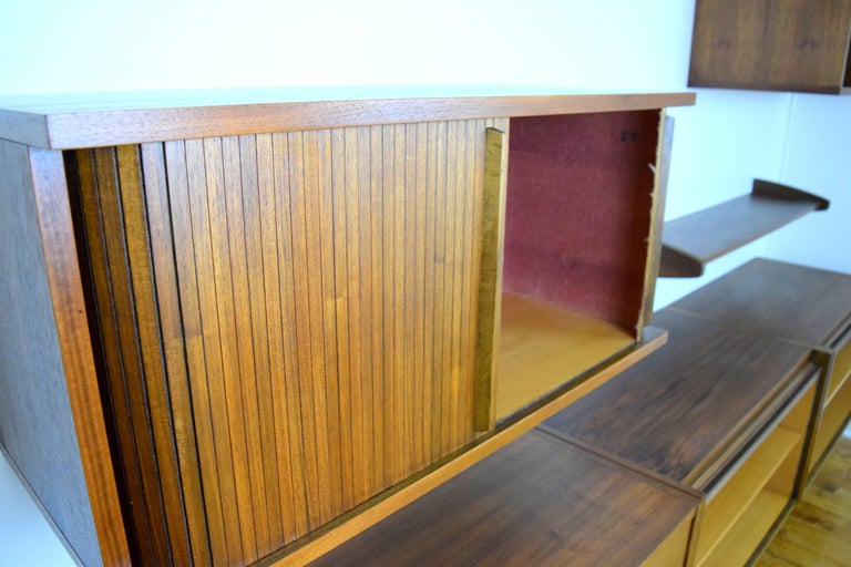 Birch Midcentury Floating Walnut Wall Unit For Sale