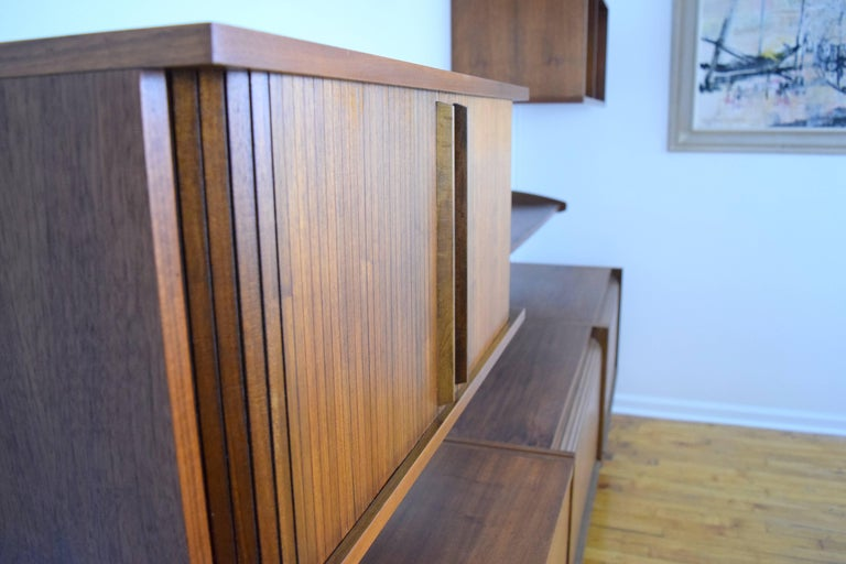 20th Century Midcentury Floating Walnut Wall Unit For Sale