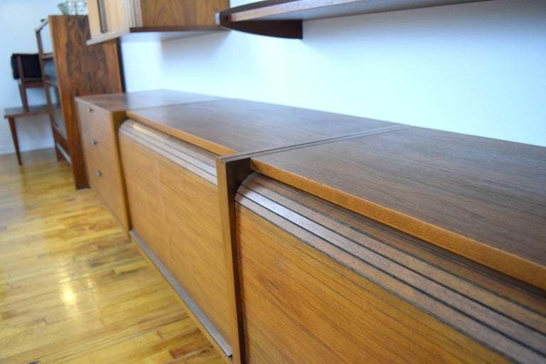 Mid-Century Modern Midcentury Floating Walnut Wall Unit For Sale