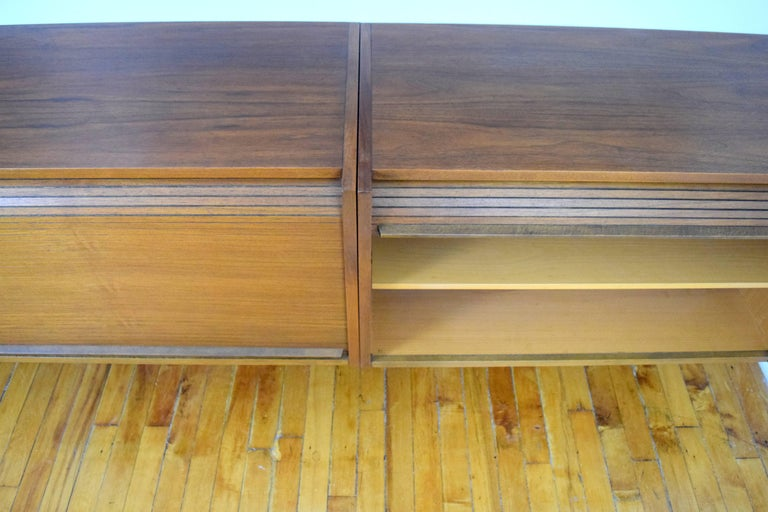 Macedonian Midcentury Floating Walnut Wall Unit For Sale